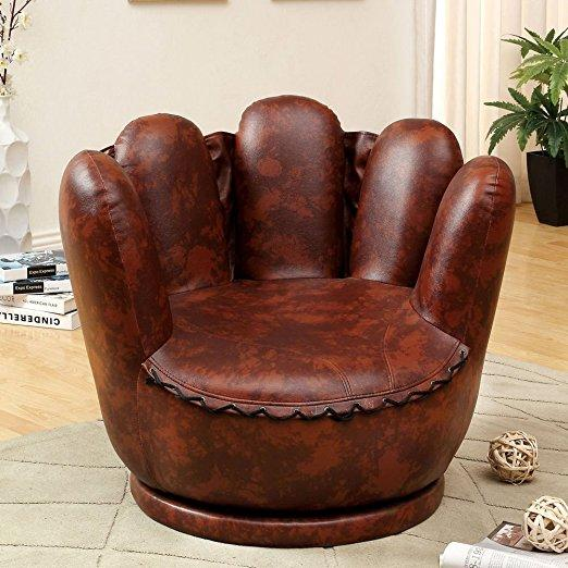 Mitte Baseball Glove Design Kids FUN Accent Swivel Chair Padded Seat PU  Leather